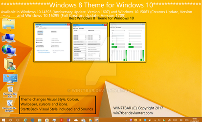 Windows 8 Theme for Windows 10 by WIN7TBAR