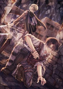 AoT Levi and Erwin by 50shadesofsparkle327