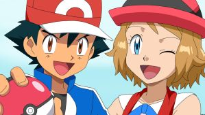Ash with Serena by Spartandragon12