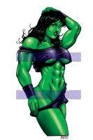 SHE-HULK AND HER THROWBACK GYM GEAR by Dwid