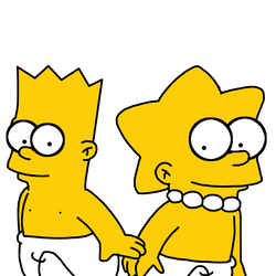 Bart and Lisa as babies by MarcosPower1996