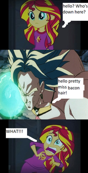 Sunset shimmer meets Broly. by imyouknowwho