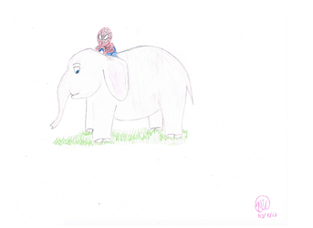 spiderman riding on an elephant by mkl2000