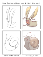 Bun Bun Slipper And Mr Bert The Snail by Heise-kun