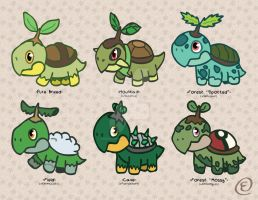 Turtwig Variants by EmersonWolfe
