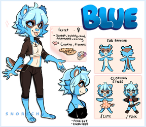 Blue the Ferret - Reference- by Snorechu