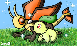 Shiny Vibrava and Chikorita