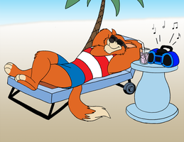 Don Karnage Sunbathing by RetroUniverseArt