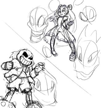 Concept Sketch: Sans vs Marie by TwisterTH