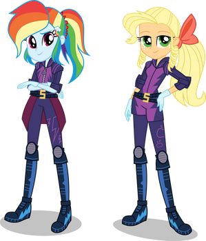 [AU] Motocross Rainbow Dash and Apple Jewel by LimeDazzle