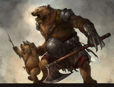 ursine warrior and cub by sandara