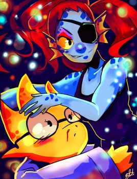 Undyne And Alphys by Moo-feeler