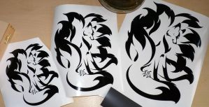 Nine-Tailed Kitsune Decal: times 3! by RHPotter