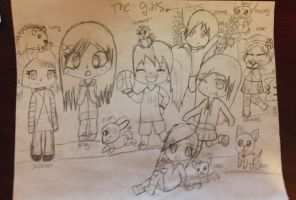 The girls and pets (unfinished) by GinaTheTaco