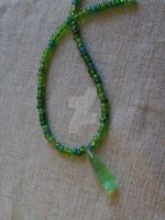 Crystal and Sea-glass Necklace by Lizzie-Leeches