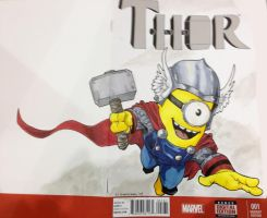Minion Thor Sketch cover VA Comicon 2014 by DKHindelang