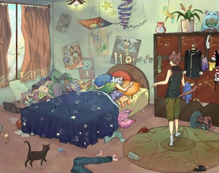 Cat Boys Room by Unodu
