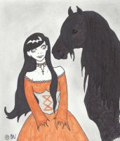 The Witch And Her Friesian by Sarah-Vafidis