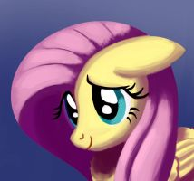 Cute Fluttershy Painting by RedInk853