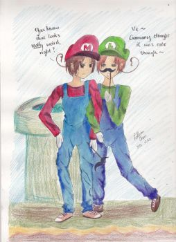 Romano and Italy - Mario Brothers [finished] by lillian1998