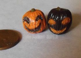 Miniature Orange and Black Jack-O-Lantern Pair by Kyle-Lefort