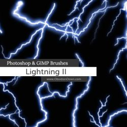 Lightning II Photoshop and GIMP Brushes by redheadstock