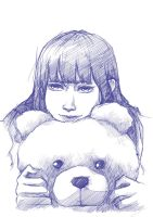 Girl with Teddy Bear by re-Senes