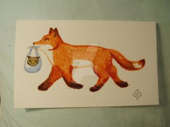 Happy fox carrying tiny owl by Tindome-Art