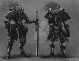 Knight Warrior character sheet_gray scale by debuhista