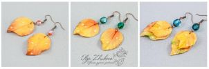 Earrings with yellow autumn leaves by polyflowers