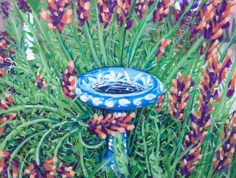 Fountain behind Delores Project - impressionism by J-Juno