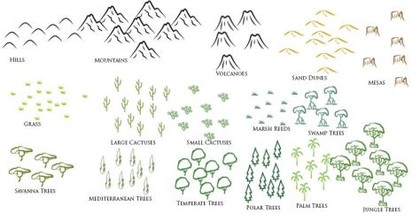 Nature Brush Set for Cartography by TyrannoNinja