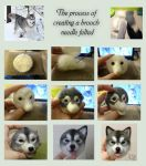 The process of creating a brooch needle felted by YuliaLeonovich