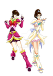 Laura and Felicia - Splash star costumes by Laura-Moon97