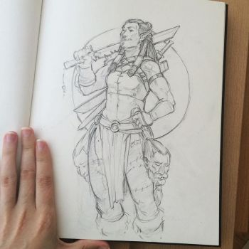 Orc Headhunter Sketch by ZaraAlfonso