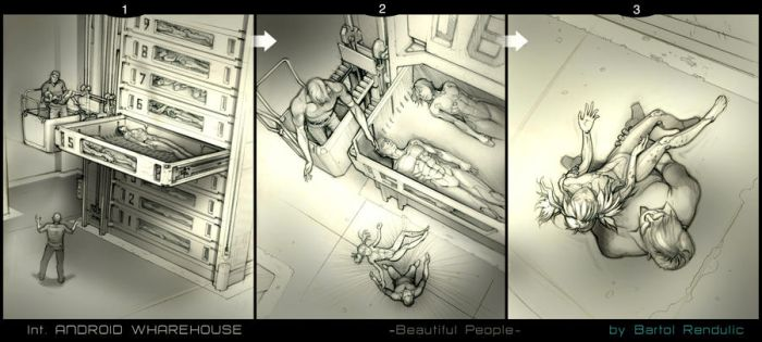 Story Board Sequence:   wharehouse-android shelves by Bartoleum