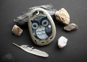 Constellation Owl Hand-painted Stone by JillHoffman