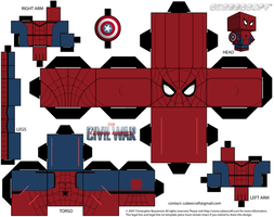 Spiderman Captain America: Civil War Cubeecraft by JagaMen