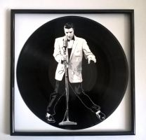 Elvis Presley painted on vinyl record by vantidus