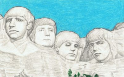 1964 Beatles on Mt Rushmore by gagambo