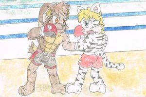 Tanner shows his fierce in boxing ring. by Plasticer