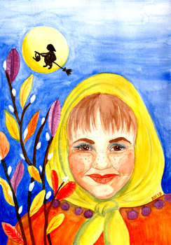 Easter Witch Watercolor Painting by LoVeras