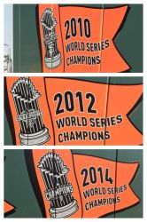 World Series champions banners on left field wall! by sfgiants58