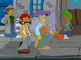 Homer and Cheech are walking on the   street01 by Flavio170