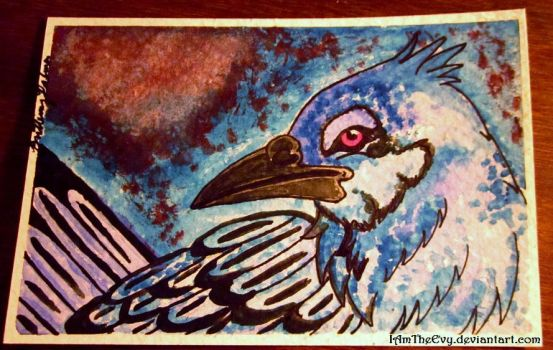 Watercolor Experiment: Blue Jay by IAmTheEvy