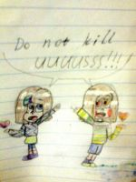 do not kill uuuusss!!! Mascot!Frisk and Chara by YuliaRabbid