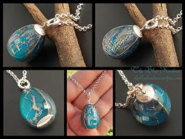 Bright Blue Robins Egg Circuit Pendant by thebluekraken