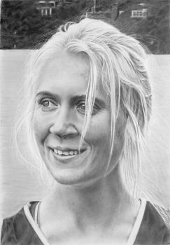 Pencil portrait of Rebecca, marathon runner by LateStarter63