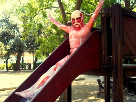 Yaaaaay! Colossal Titan is having some fun :'D by theproselyte801