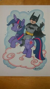 Batman Riding Twilight Sparkle by beckadoodles